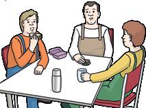 3 Menschen essen am Tisch