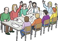 Neun Menschen am Tisch