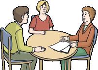 Drei Menschen am Tisch