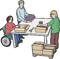 Drei Menschen verpacken Dinge
