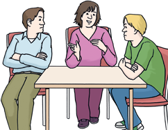 Frau und 2 Maenner am Tisch