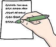 Hand schreibt