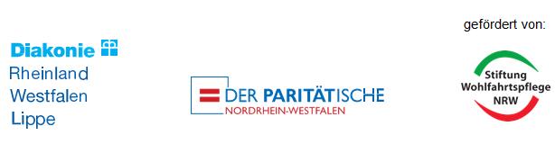 Logos - gefördert von Diakonie, Der Paritätische, Stiftung Wohlfahrtspflege NRW