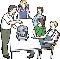 Menschen mit Tee am Tisch