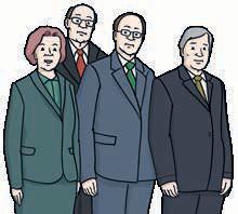 Vier Menschen in Anzügen