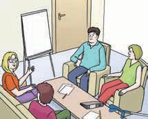 Vier Menschen mit Whiteboard