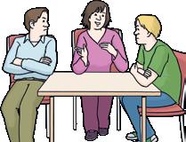 Zwei Männer und eine Frau am Tisch