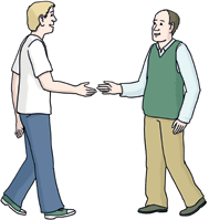 Zwei Menschen Begegnung